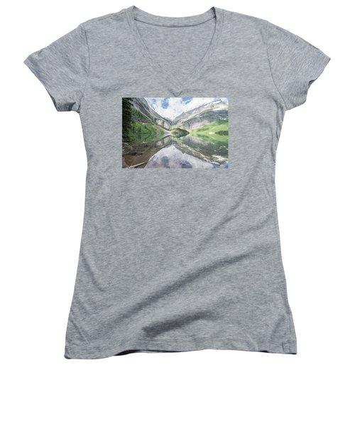 Grinnell Lake Mirrored Women's V-Neck T-Shirt