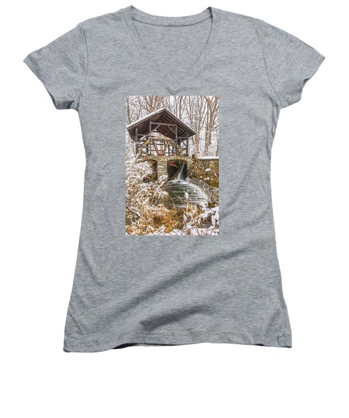 Grist Mill In Fresh Snow Women's V-Neck (Athletic Fit)