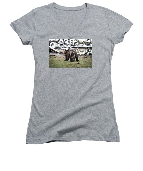 Women's V-Neck featuring the photograph Grizzly Cub Holding Mother by Scott Read
