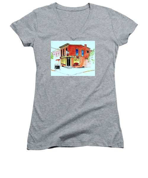Women's V-Neck T-Shirt (Junior Cut) featuring the painting Grodzicki's Market by William Renzulli