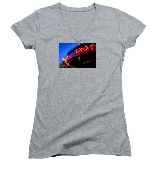 Women's V-Neck T-Shirt (Junior Cut) featuring the photograph Grotto - Night View by Lora Lee Chapman