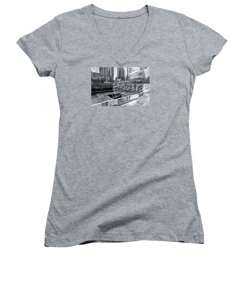 Women's V-Neck T-Shirt (Junior Cut) featuring the photograph Ground Zero by Sabine Edrissi