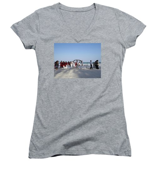 Group Wedding Photo Africa Beach Women's V-Neck (Athletic Fit)
