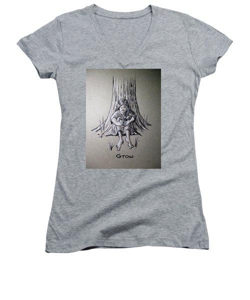 Grow Women's V-Neck T-Shirt