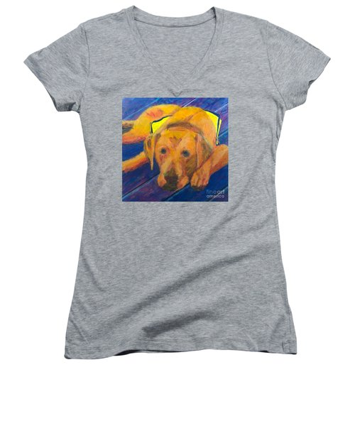 Women's V-Neck T-Shirt (Junior Cut) featuring the painting Growing Puppy by Donald J Ryker III