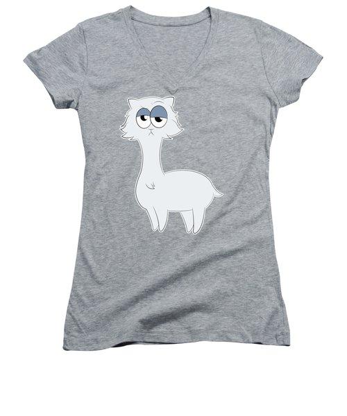 Grumpy Persian Cat Llama Women's V-Neck T-Shirt (Junior Cut) by Catifornia Shop