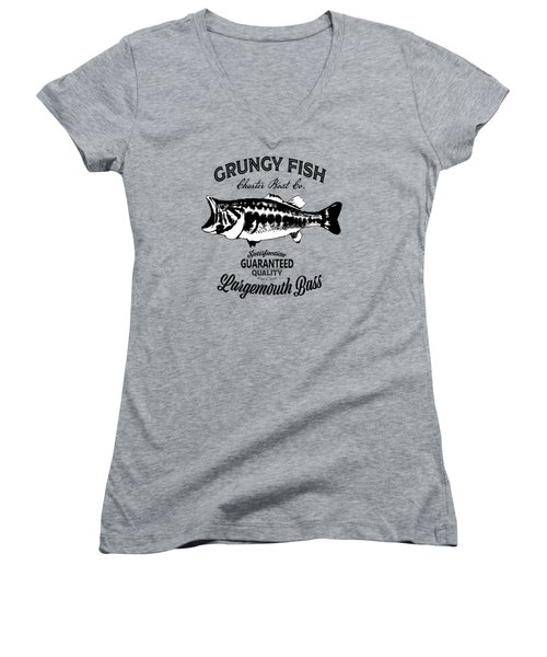 Grungy Fish Women's V-Neck (Athletic Fit)