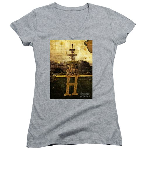 Grungy Melbourne Australia Alphabet Series Letter H Hochgurtel F Women's V-Neck (Athletic Fit)