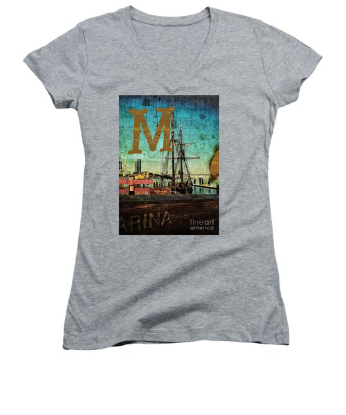 Grungy Melbourne Australia Alphabet Series Letter M Marina Dockl Women's V-Neck (Athletic Fit)