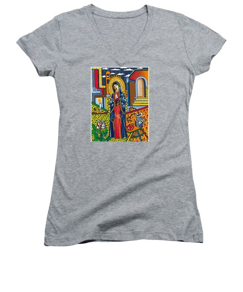 Guadalupe Visits Picasso Women's V-Neck T-Shirt (Junior Cut) by James Roderick