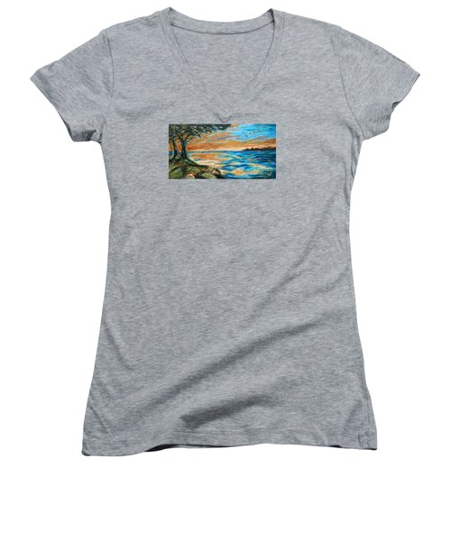 Women's V-Neck T-Shirt (Junior Cut) featuring the painting Guana Sunset by Linda Olsen