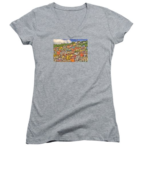 Guanajuato Hillside Women's V-Neck T-Shirt (Junior Cut) by Juli Scalzi
