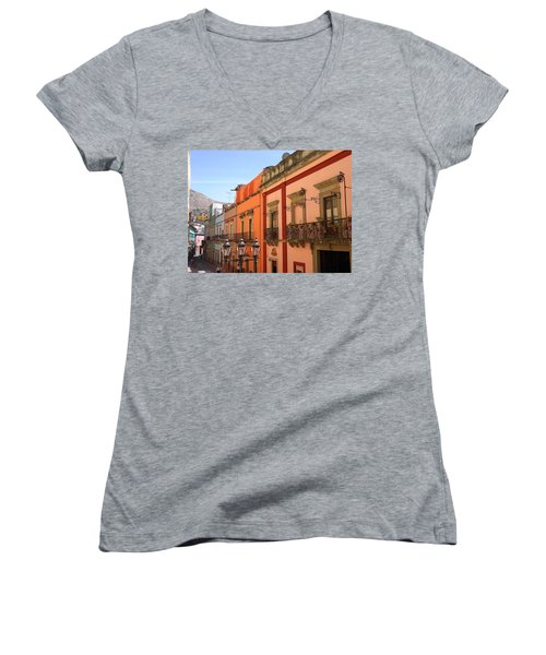 Women's V-Neck T-Shirt (Junior Cut) featuring the photograph Guanajuato by Mary-Lee Sanders