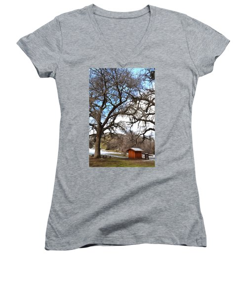 Women's V-Neck T-Shirt (Junior Cut) featuring the photograph Guard Shack At Fort Tejon Lebec California by Floyd Snyder
