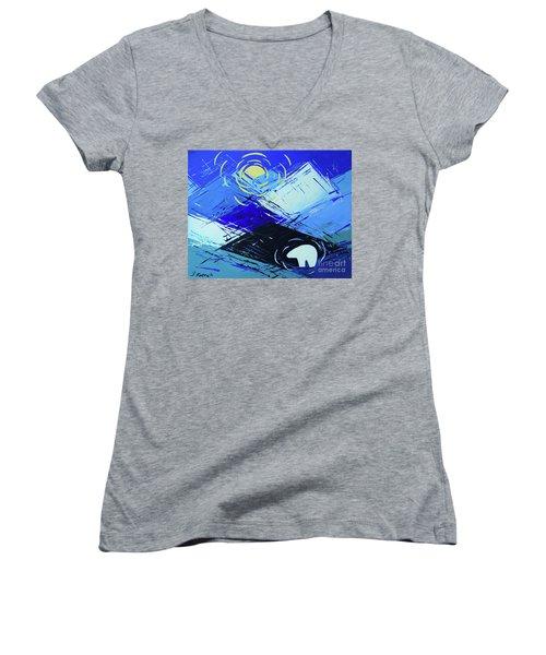 Guardian Bear Winter Women's V-Neck T-Shirt