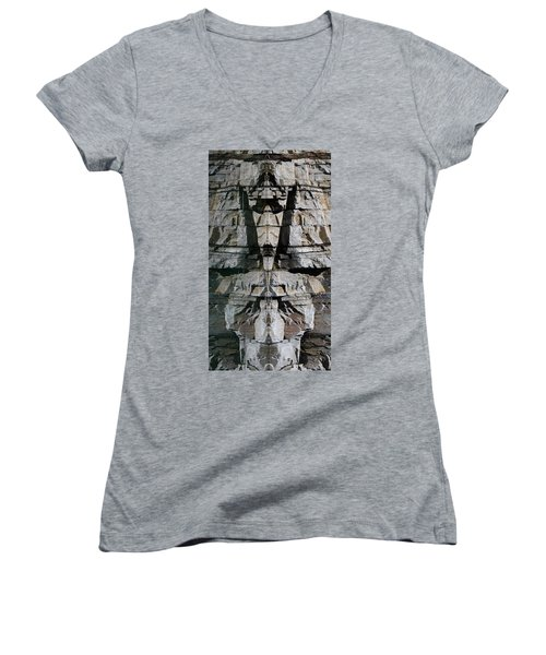 Women's V-Neck T-Shirt (Junior Cut) featuring the photograph Guardians Of The Lake by Cathie Douglas