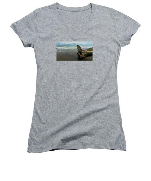 Guarding The Shore Women's V-Neck T-Shirt (Junior Cut) by Pamela Blizzard