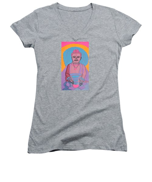Women's V-Neck T-Shirt (Junior Cut) featuring the painting Guatama Buddha by Don Koester