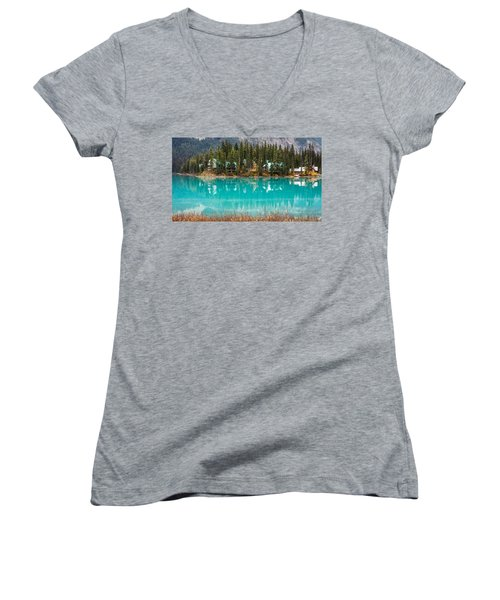 Women's V-Neck T-Shirt (Junior Cut) featuring the photograph Emerald Lake by Pierre Leclerc Photography