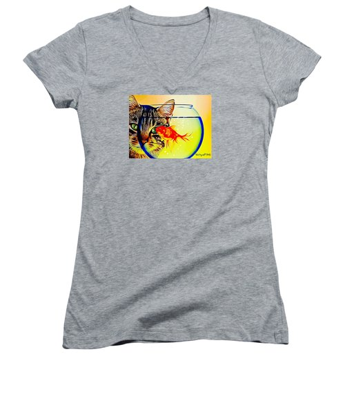 Guess Who's Coming To Dinner? Women's V-Neck T-Shirt (Junior Cut) by Ted Azriel