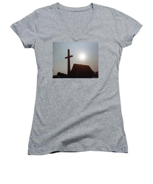 Women's V-Neck T-Shirt (Junior Cut) featuring the photograph Guiding Light by Betty Northcutt
