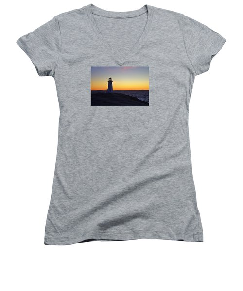 Peggy's Cove Lighthouse Women's V-Neck T-Shirt (Junior Cut) by Heather Vopni