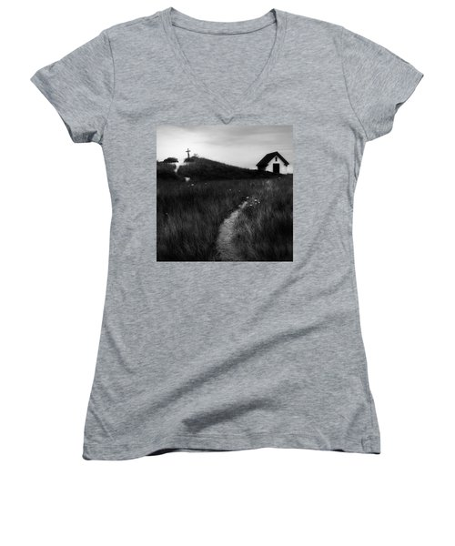 Women's V-Neck T-Shirt (Junior Cut) featuring the photograph Guiding Light Square by Bill Wakeley