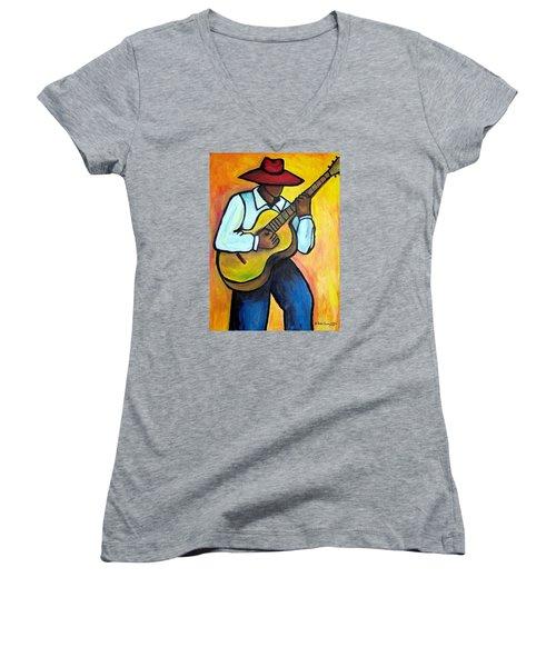 Women's V-Neck T-Shirt (Junior Cut) featuring the painting Guitar Man by Diane Britton Dunham