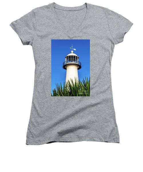 Gulf Coast Lighthouse Seascape Biloxi Ms 3819a Women's V-Neck (Athletic Fit)