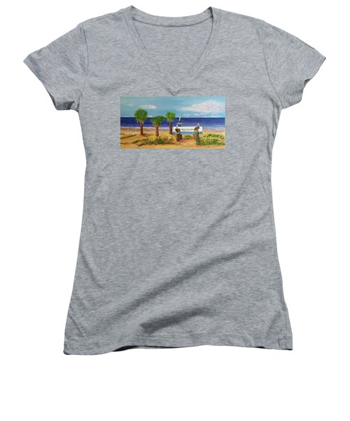 Gulf Shore Welcome Women's V-Neck T-Shirt