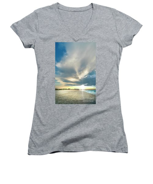 Gulf Shores Al Pier Seascape Sunrise 152a Women's V-Neck