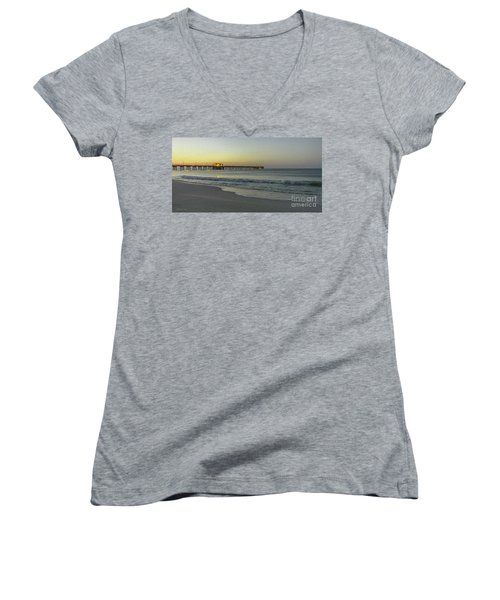 Gulf Shores Alabama Fishing Pier Digital Painting A82518 Women's V-Neck