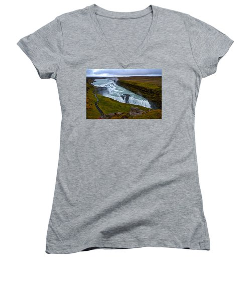 Gullfoss Waterfall #2 - Iceland Women's V-Neck