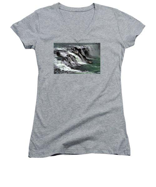 Gullfoss Waterfalls, Iceland Women's V-Neck T-Shirt (Junior Cut) by Dubi Roman