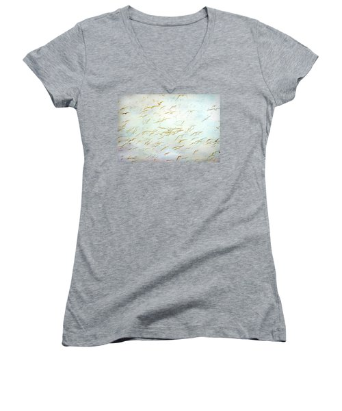 Women's V-Neck T-Shirt (Junior Cut) featuring the painting Gulls At The Beach by Peggy Collins