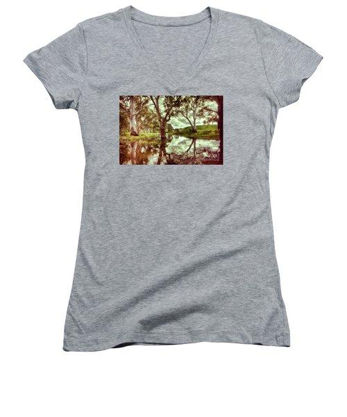Gum Creek V2 Women's V-Neck T-Shirt (Junior Cut) by Douglas Barnard