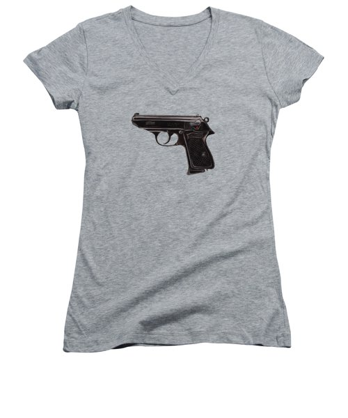 Gun - Pistol - Walther Ppk Women's V-Neck