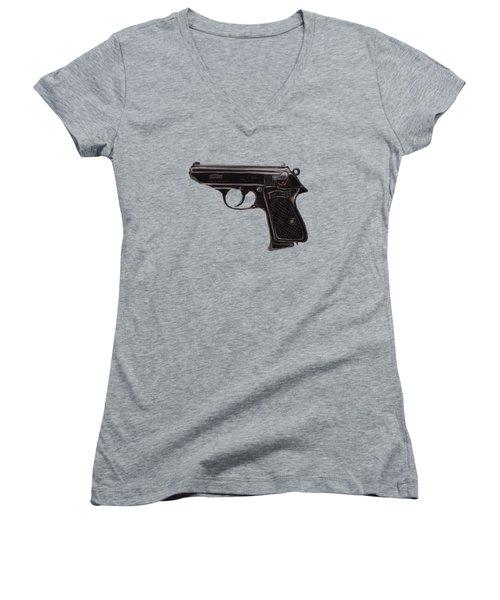 Gun - Pistol - Walther Ppk Women's V-Neck (Athletic Fit)