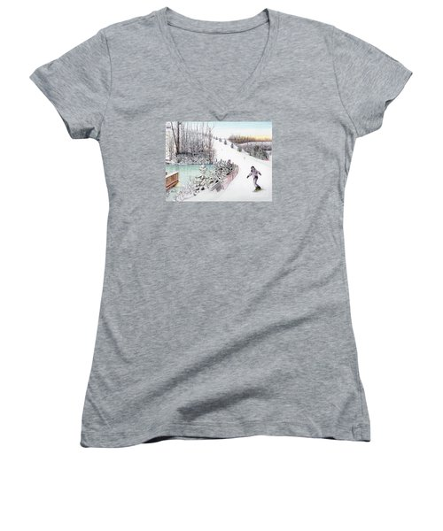 Women's V-Neck T-Shirt (Junior Cut) featuring the painting Gunnar Slope And The Ducky Pond by Albert Puskaric