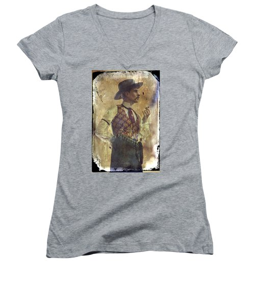 Gunslinger IIi Doc Holliday In Fine Attire Women's V-Neck (Athletic Fit)