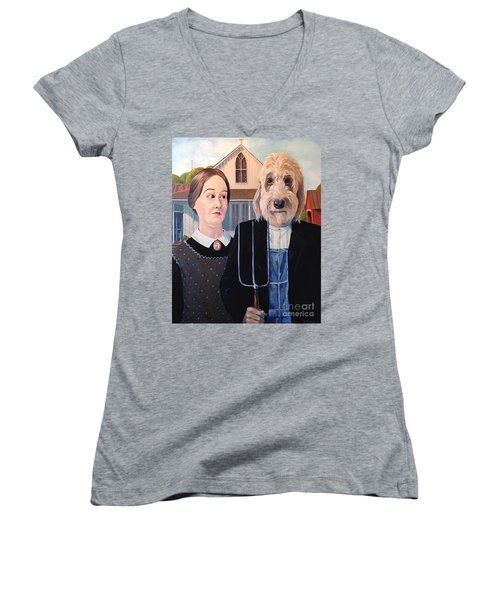 Women's V-Neck T-Shirt (Junior Cut) featuring the painting Gunther Goes Goth by Diane Daigle