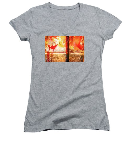 Women's V-Neck T-Shirt featuring the photograph Gutter And Decayed Wall by Silvia Ganora