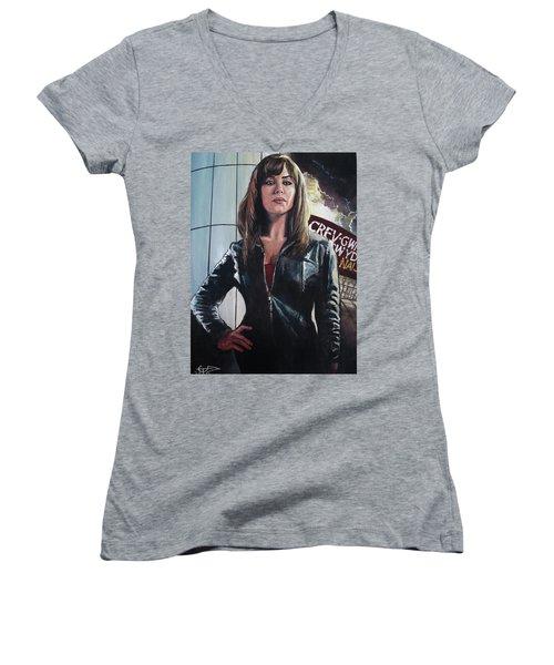 Gwen Cooper Women's V-Neck T-Shirt (Junior Cut) by Tom Carlton