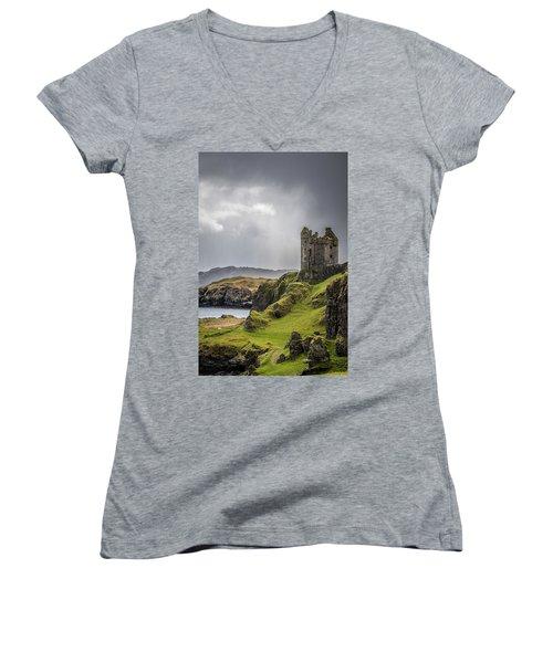 Gylen Castle On Kerrera In Scotland Women's V-Neck