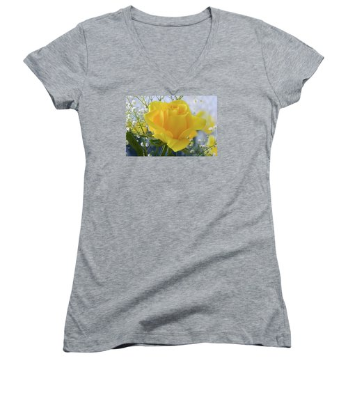 Women's V-Neck T-Shirt (Junior Cut) featuring the photograph Gypsophila And The Rose. by Terence Davis
