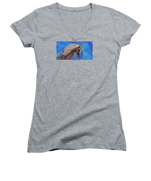 Women's V-Neck T-Shirt (Junior Cut) featuring the pastel Gypsy In The Wind by Karen Kennedy Chatham