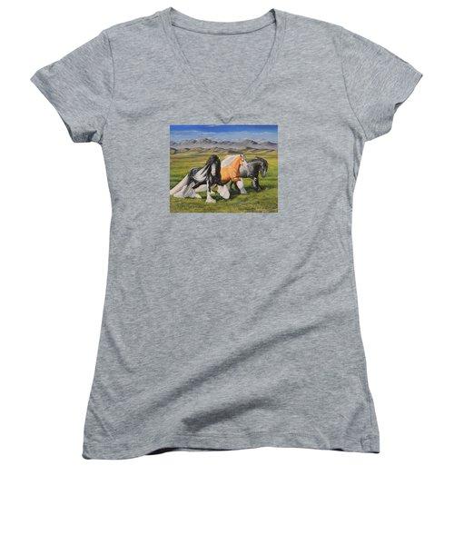 Gypsy Medley Women's V-Neck T-Shirt (Junior Cut) by Ruanna Sion Shadd a'Dann'l Yoder