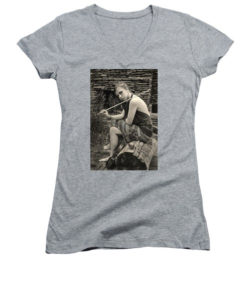 Women's V-Neck featuring the photograph Gypsy Player by Ron Cline