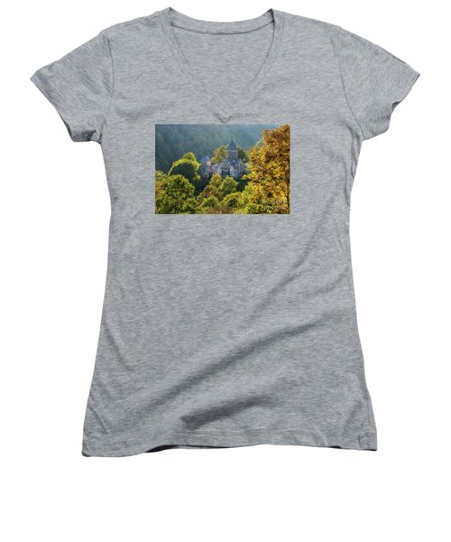 Haghartsin Monastery With Trees In Front At Autumn, Armenia Women's V-Neck T-Shirt