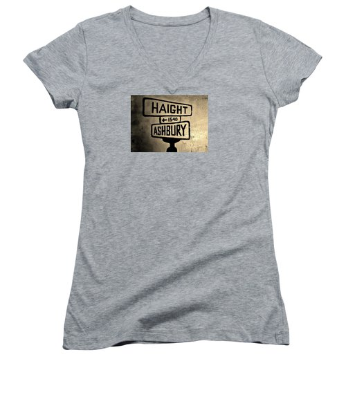 Women's V-Neck T-Shirt (Junior Cut) featuring the photograph Haight Ashbury by Dany Lison